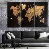 تابلو نقاشی اکرلیک و ورق طلا طرح نقشه جهان